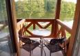 balkon z widokiem na jezioro i las